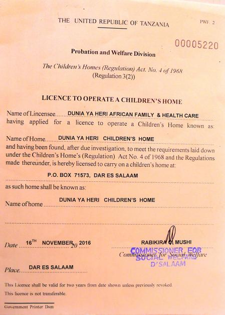 License to Operate a Children's Home